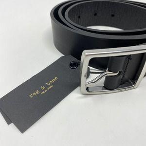 Rag & Bone Rugged Leather Belt in Black
